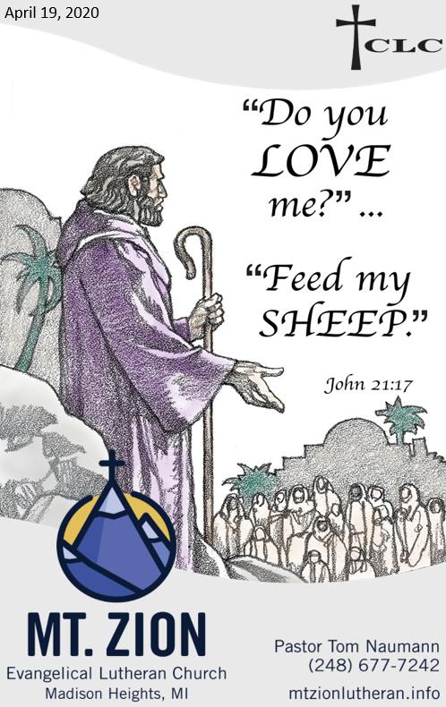 1st Sunday after Easter – April 19, 2020