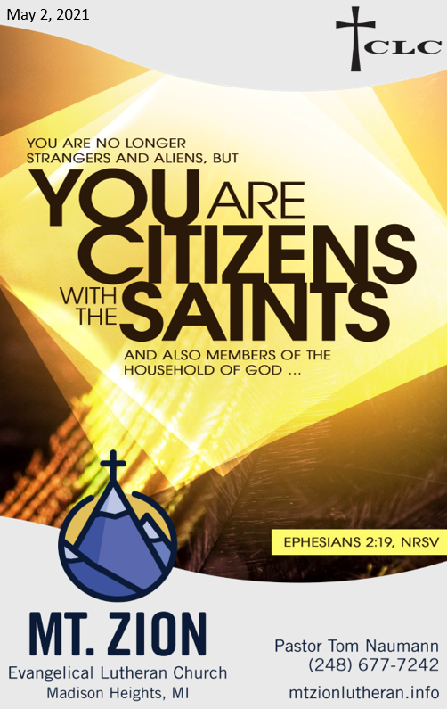 May 2, 2021 – Fifth Sunday in Easter